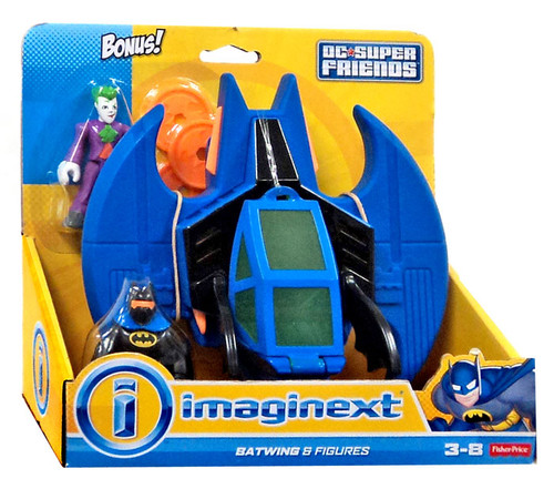 Fisher Price DC Super Friends Imaginext Batwing 3-Inch Figure Set [Bonus Joker Figure]