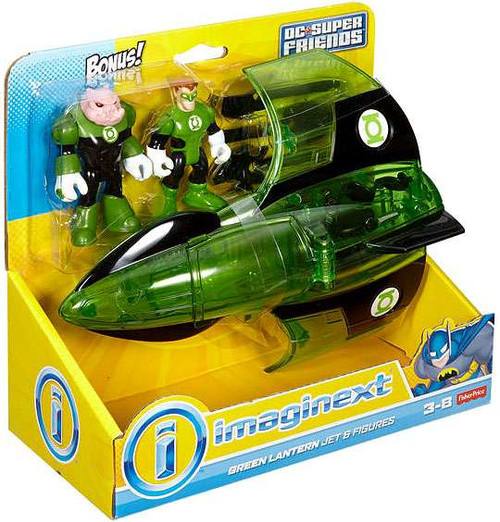 Fisher Price DC Super Friends Imaginext Green Lantern Jet 3-Inch Figure Set [Bonus Kilowog Figure]