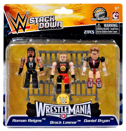 WWE Wrestling C3 Construction StackDown Roman Reigns, Brock Lesnar & Daniel Bryan Minifigure #21099 [WrestleMania]