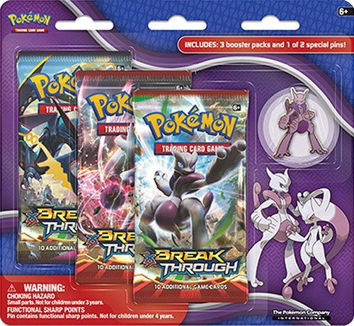 Pokemon Trading Card Game XY BREAKthrough Mega Mewtwo X Pin Collection [3 Booster Packs & Pin]