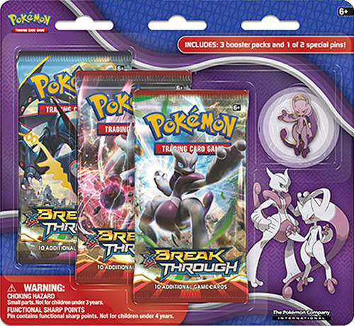 Pokemon Trading Card Game XY BREAKthrough Mega Mewtwo Y Pin Collection [3 Booster Packs & Pin!]