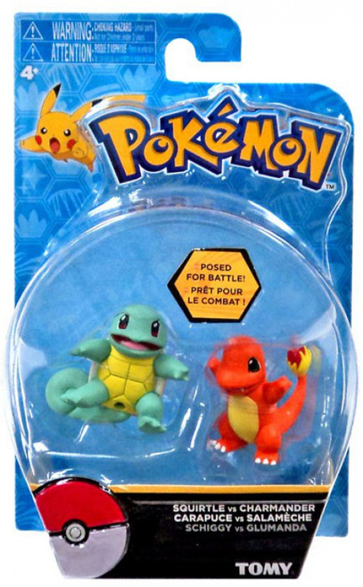 Pokemon Action Pose Squirtle & Charmander 2-Inch Mini Figure 2-Pack