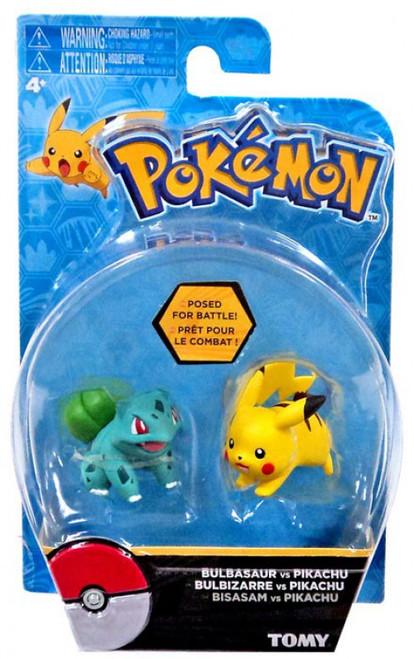Pokemon Action Pose Bulbasaur & Pikachu 2-Inch Mini Figure 2-Pack