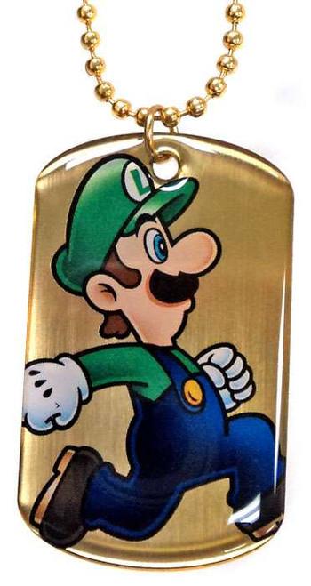 Super Mario Gold Chase 2D Luigi Dog Tag G5 [Loose]