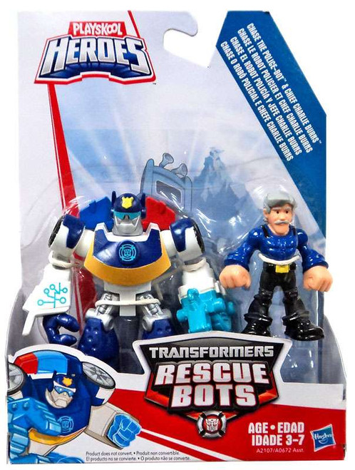Transformers Playskool Heroes Rescue Bots Chase The Police-Bot & Chief Charlie Burns Action Figure 2-Pack