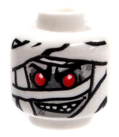 White Mummy with Red Eyes Minifigure Head [Loose]