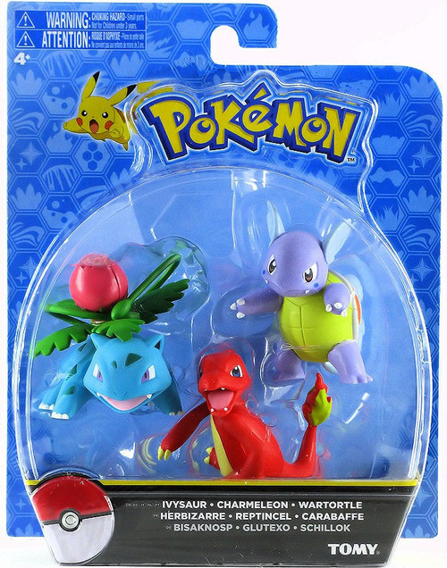Pokemon Action Pose Ivysaur, Charmeleon & Wartortle 3-Inch Mini Figure 3-Pack