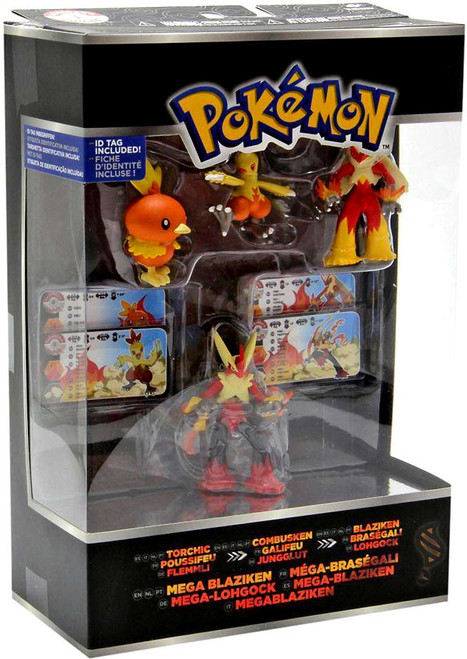 Pokemon XY Torchic, Combusken, Blaziken & Mega Blaziken Mini Figure Evolution 4-Pack