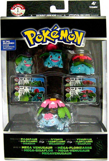 Pokemon XY Bulbasaur, Ivysaur, Venusaur & Mega Venusaur Mini Figure Evolution 4-Pack