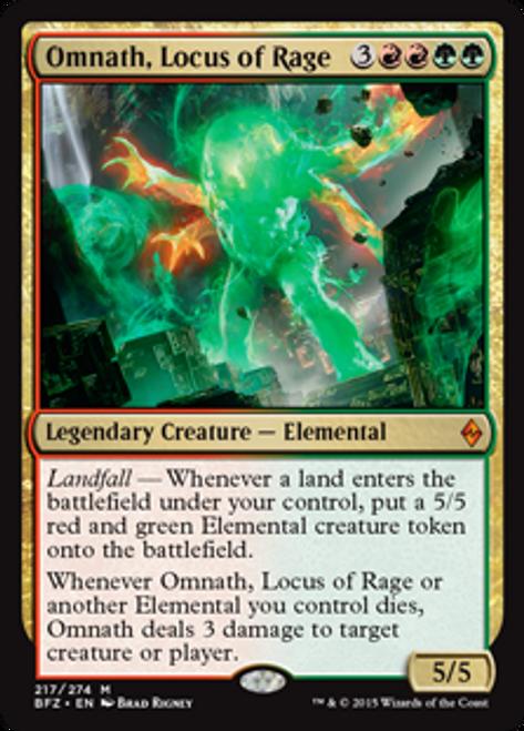 MtG Battle for Zendikar Mythic Rare Omnath, Locus of Rage #217
