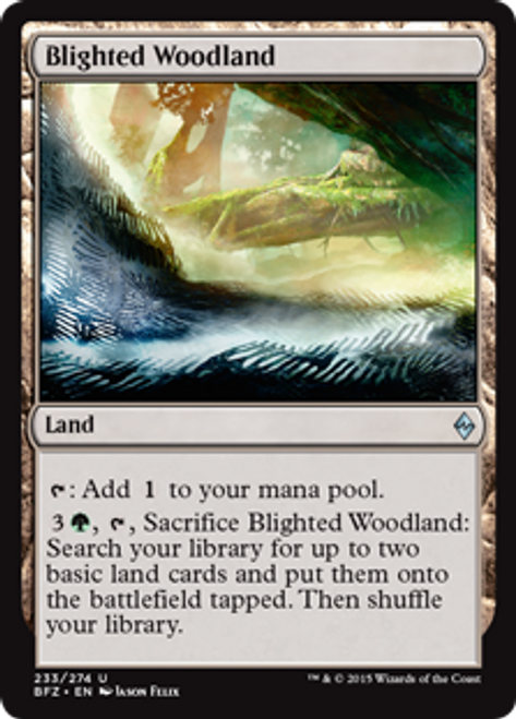 MtG Battle for Zendikar Uncommon Blighted Woodland #233