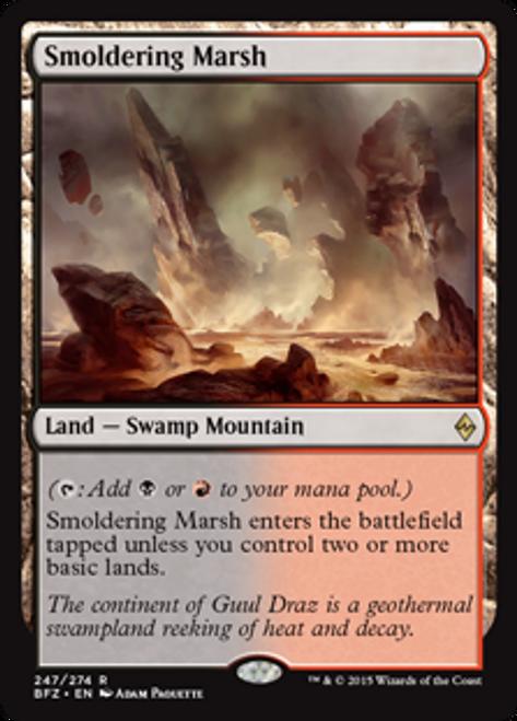 MtG Battle for Zendikar Rare Smoldering Marsh #247