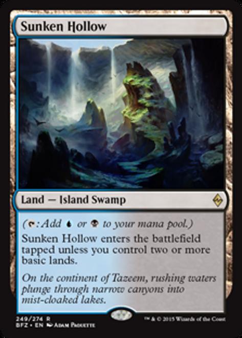 MtG Battle for Zendikar Rare Sunken Hollow #249