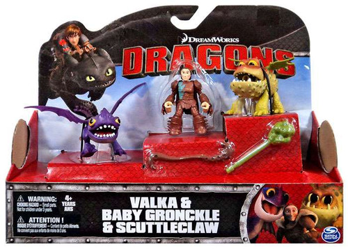 How to Train Your Dragon Dragons Valka, Baby Gronckle & Scuttleclaw Action Figure Set