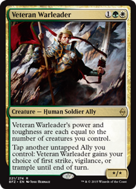 MtG Battle for Zendikar Rare Foil Veteran Warleader #221