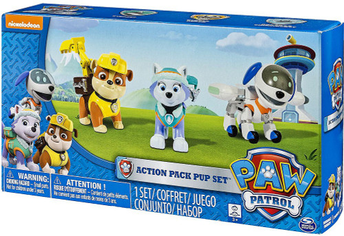 Paw Patrol Action Pack Pup Set Rubble, Everest & Robo Dog Figure 3-Pack