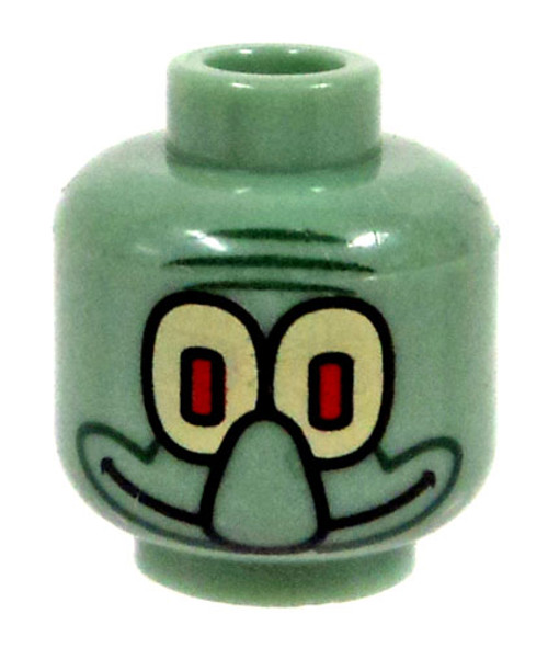 Sand Green with Yellow Eyes & Large Nose Minifigure Head [Squidward Loose]