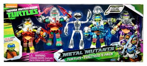 Teenage Mutant Ninja Turtles Nickelodeon Metal Mutants Turtles + Fugitoid Exclusive Action Figure 5-Pack