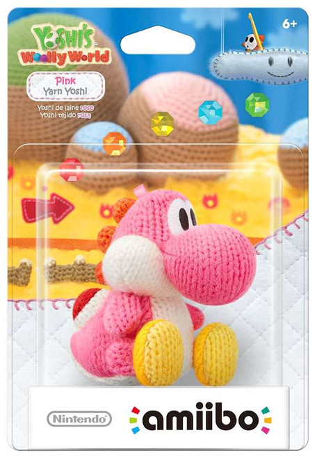Nintendo Yoshi's Woolly World Amiibo Yoshi Mini Figure [Pink Yarn]