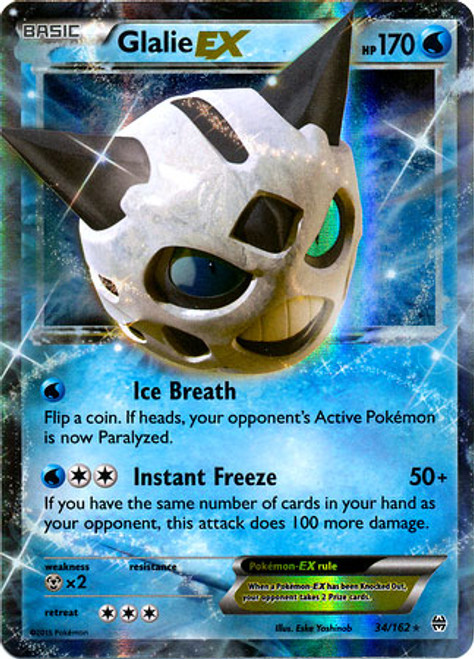 Pokemon X & Y BREAKthrough Ultra Rare Glalie EX #34