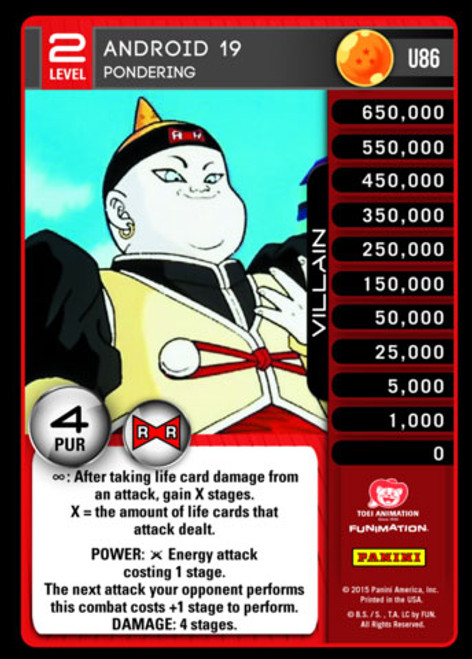 Dragon Ball Z CCG Evolution Uncommon Android 19 - Pondering U86 [Level 2]