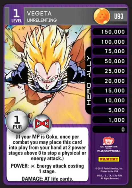 Dragon Ball Z Evolution Uncommon Vegeta - Unrelenting U93