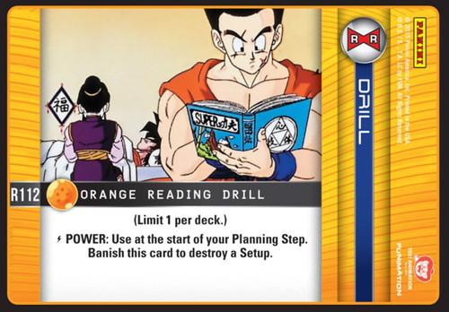 Dragon Ball Z CCG Evolution Rare Orange Reading Drill R112