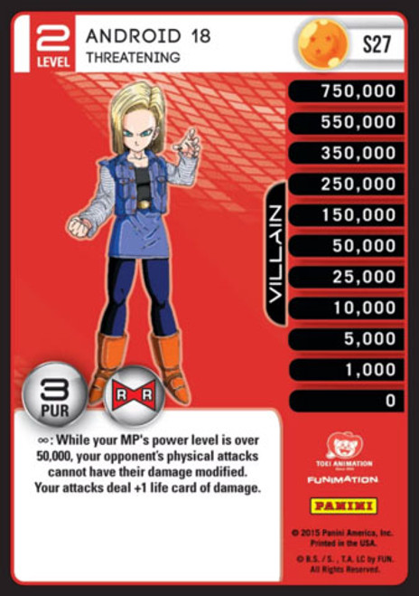 Dragon Ball Z CCG Evolution Fixed Android 18 - Threatening S27 [Foil Level 2]