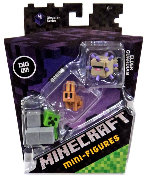 Minecraft Obsidian Series 4 Elder Guardian, Rabbit & Sneaky Creeper Mini Figure 3-Pack