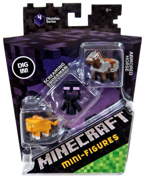 Minecraft Obsidian Series 4 Armored Horse, Screaming Enderman & Tabby Cat Mini Figure 3-Pack