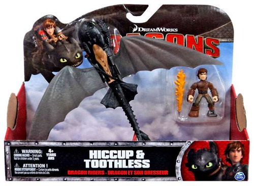 How to Train Your Dragon Dragons Dragon Riders Hiccup & Toothless Action Figure 2-Pack [No Armor, Wings Spread]