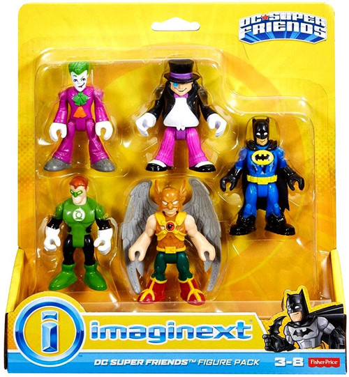 Fisher Price DC Super Friends Imaginext Joker, Penguin, Green Lantern, Hawkman & Batman 3-Inch Figure 5-Pack