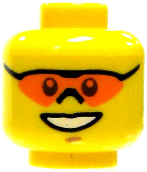 Yellow Head with Orange Safety Sun Glasses & Open Mouth Smile Minifigure Head [Loose]