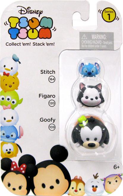 Disney Tsum Tsum Series 1 Stitch, Figaro & Goofy 164, 120 & 109 Minifigure 3-Pack