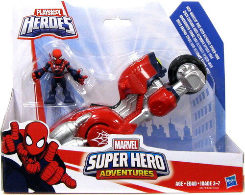 Marvel Playskool Heroes Super Hero Adventures Ultimate Spider-Man with Web-Wheelin' Bike Action Figure Set