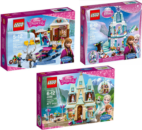 LEGO Disney Princess Disney Frozen Ice Castle, Sleigh Adventure & Arendelle Castle Celebration LOT of 3 Sets #41062, 41066 & 41068