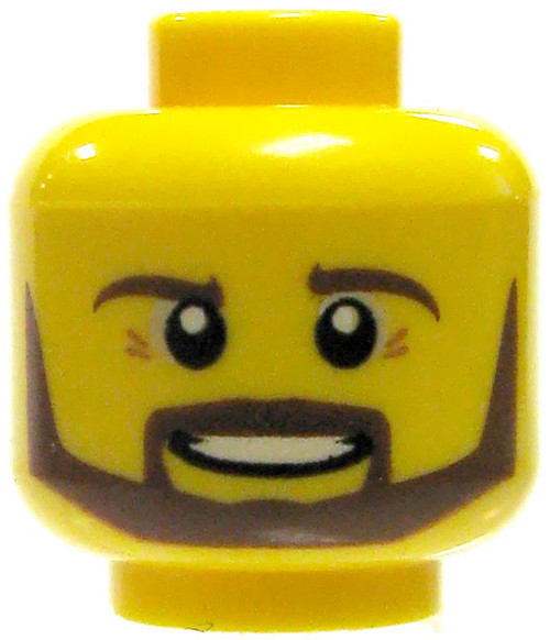 Yellow Male with Neat Brown Beard and Crows Feet Minifigure Head [Loose]