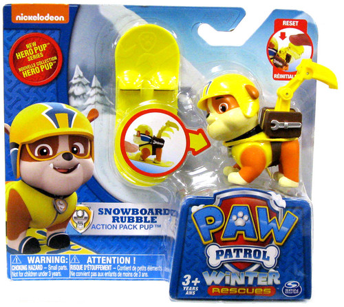 Paw Patrol Action Pack Pup Winter Rescues Snowboard Rubble Figure
