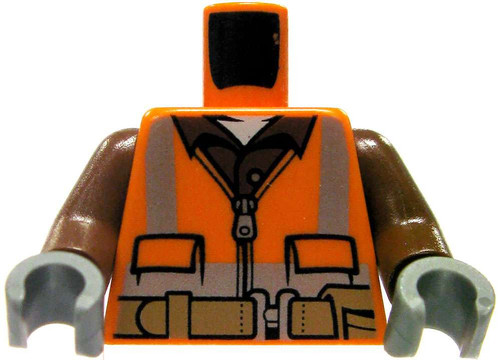 LEGO Orange Construction Worker Design with Brown Arms Loose Torso [Loose]