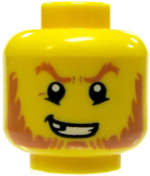 Yellow Male with Red Beard, Sneer & Missing Tooth Minifigure Head [Loose]