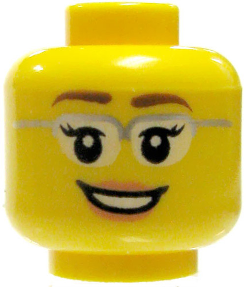 Yellow Female with Silver Glasses & Kind Smile Minifigure Head [Loose]