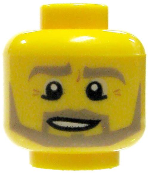 Yellow Male with Neat Tan Beard and Crows Feet Minifigure Head [Loose]
