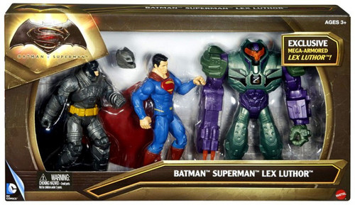 DC Batman v Superman: Dawn of Justice Batman, Superman & Lex Luthor Action Figure 3-Pack