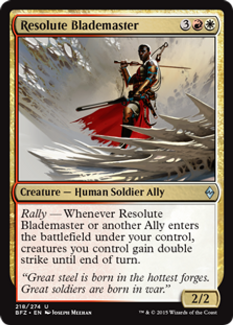 MtG Battle for Zendikar Uncommon Foil Resolute Blademaster #218