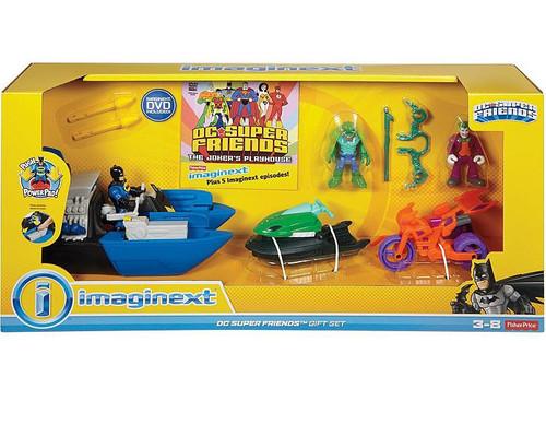 Fisher Price DC Super Friends Imaginext Batman, K. Croc & Joker with Vehicles Figure Gift Set