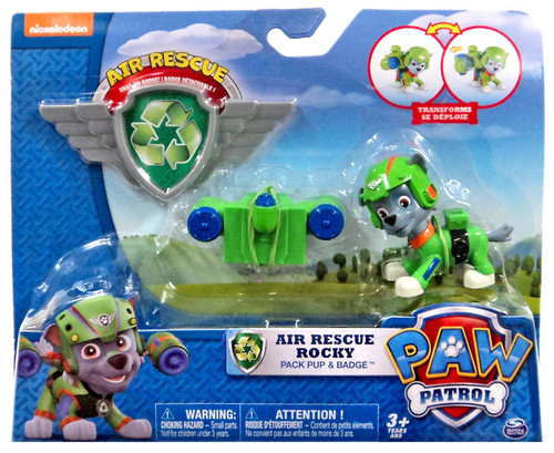 Paw Patrol Action Pack & Badge Air Rescue Rocky Figure