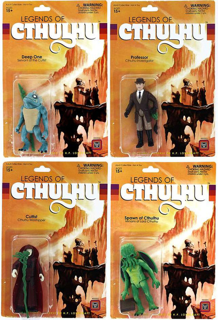 Legends of Cthulhu Spawn of Cthulhu, Professor, Cultist & Deep One Retro Action Figure Set