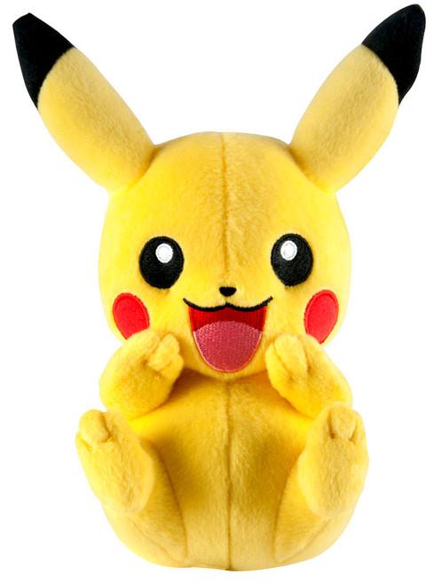 Pokemon Pikachu 8-Inch Plush [Sitting, Open Mouth, Hands on Cheeks]
