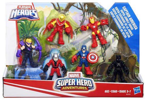 Marvel Playskool Heroes Super Hero Adventures Captain America Super Jungle Squad Mini Figure 6-Pack