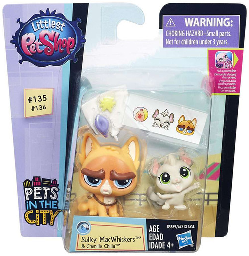 Littlest Pet Shop Pets in the City Sulky MacWhiskers & Chenille Chilla Figure 2-pack